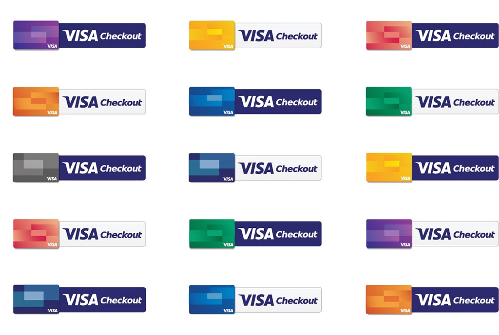 An illustration showcasing different variations of the Visa Checkout button.